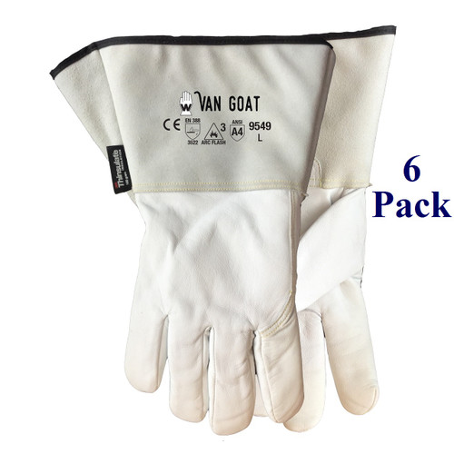 Winter Van Goat - FG Goatskin Gauntlet - ANSI Cut Lv A4 - Insulated - M-XXL  (6 Pack)