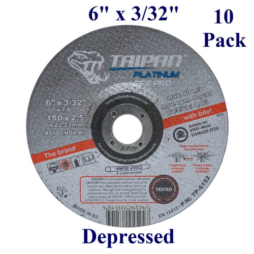 "6"" x 3/32"" x 7/8"" - Platinum Pipe-Pro Grinding Disc - Steel/Stainless -  Depressed  (10 Pack)"