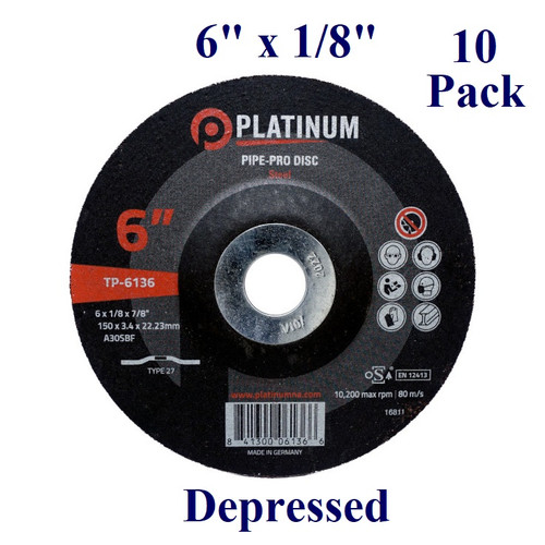 "6"" x 1/8"" x 7/8"" - Platinum Pipe-Pro Grinding Disc - Steel/Stainless -  Depressed  (10 Pack)"