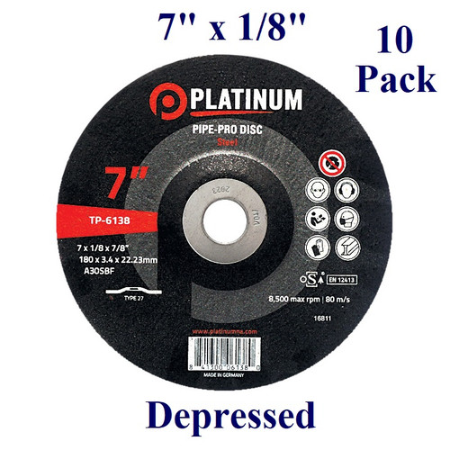 """7"""" x 1/8"""" x 7/8"""" - Pipe-Pro Grinding Disc - Steel/Stainless -  Depressed  (10 Pack)"""