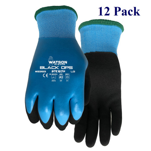 Stealth Black Ops - Foam Latex Palm - ANSI Cut Lv A3 - Insulated - S-XXL  (12 Pack)