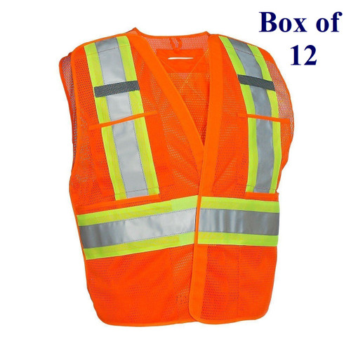 5-Point Mesh Tear-away Hi Vis Traffic Safety Vest - Orange, Lime, Black - S/M-2X/3X  (Box of 12)