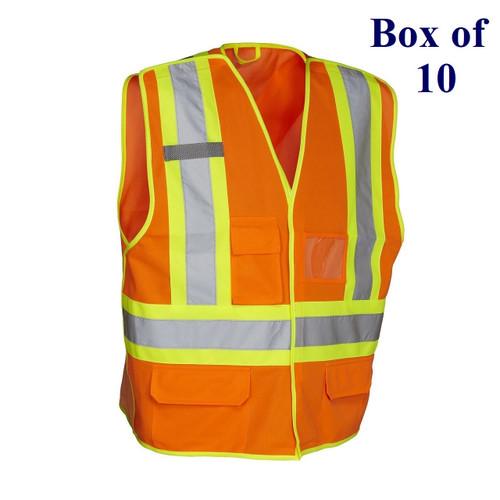 5-Point Tricot Tear-away Hi Vis Traffic Safety Vest - Orange, Lime, Black - S/M-2X/3X  (Box of 10)