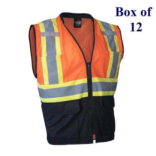 Tricot Traffic Hi Vis Safety Vest with Zipper - Orange, Lime, Blue, Black - S/M-2X/3X  (Box of 12)