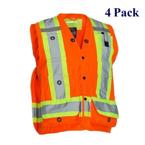 Tricot Hi Vis Surveyor's Vest - Orange, Lime, Dark Blue, Black - S-5XL  (4 Pack)