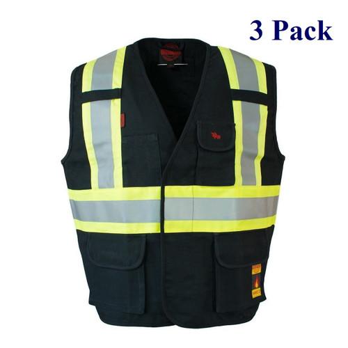 Fire Resistant Cotton Duck Hi Vis Safety Vest - Black - S-3XL  (3 Pack)