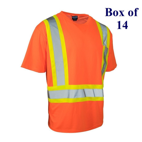 Orange, Lime - Ultrasoft Hi Vis Crew Neck Short Sleeve Safety T-Shirt with Chest Pocket - S-2X  (Box of 14)