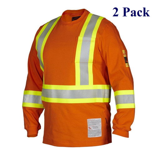 Orange Flame & Arc Resistant Long Sleeve T-Shirt HRC2 - S-4X  (2 Pack)