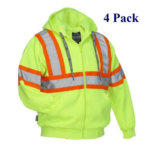 Hi Vis Safety Hoodie - Orange, Lime, Dark Blue, Black - S-3XL  (4 Pack)