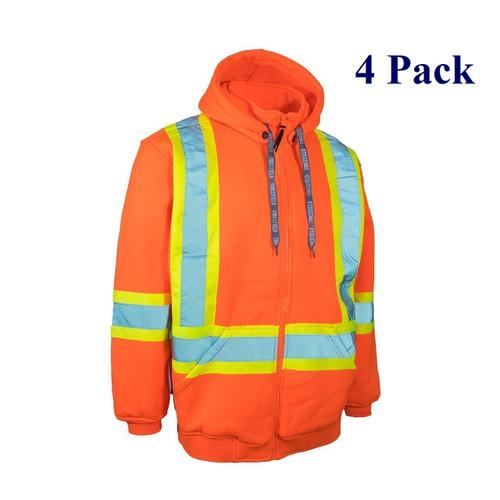 Hi Vis Safety Hoodie w/ Detachable Hood - Orange, Lime, Black - S-4XL  (4 Pack)