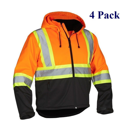 Hi Vis Safety Softshell w/ Detachable Hood - Orange, Lime, Black - S-4XL  (4 Pack)