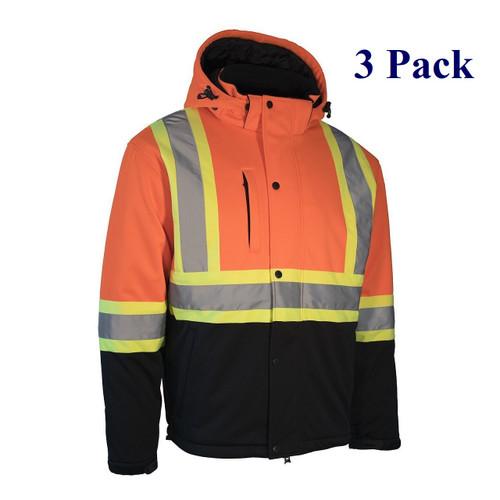 Hi Vis Softshell Winter Jacket w/ Detachable Hood - Orange, Lime, Black - S-5XL  (3 Pack)