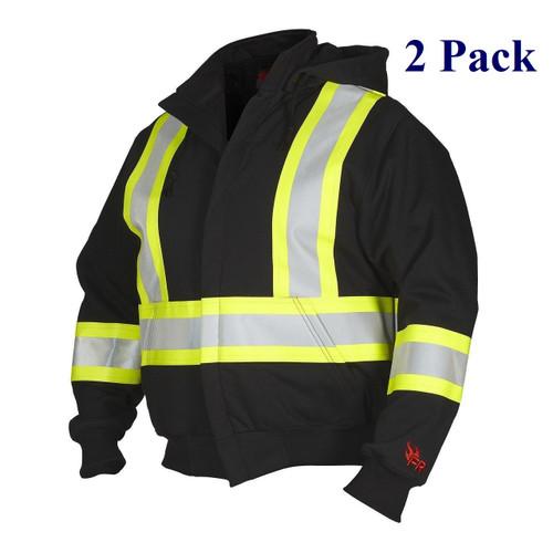 Fire Resistant Hi Vis Hoodie w/ Detachable Hood - Black - S-4XL  (2 Pack)