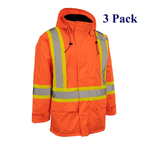 Orange, Black - Hi Vis Insulated Miners Jacket - M-3XL  (3 Pack)