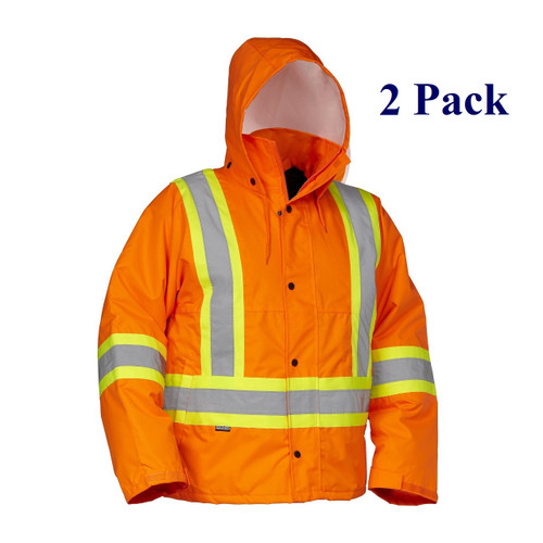 Orange, Lime, Dark Blue, Black - Hi Vis Insulated Drivers Jacket - S-5XL  (2 Pack)