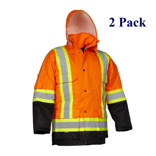 Orange, Lime, Dark Blue, Black - Hi Vis Insulated Cargo Parka - S-5XL  (2 Pack)