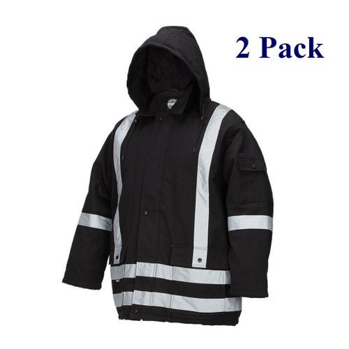 Hi Vis Insulated Cotton Canvas Parka - Black - M-3XL  (2 Pack)