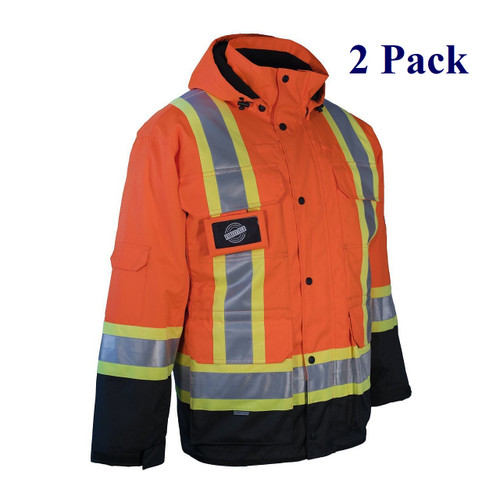 Orange, Lime, Black - Hi Vis 3-in-1 Winter Parka with Removable Liner Jacket - S-4XL  (2 Pack)