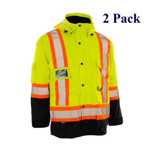 Orange, Lime, Dark Blue, Black - Hi Vis 4-in-1 Winter Parka with Removable Liner Jacket - S-4XL  (2 Pack)