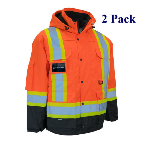 Orange, Black - Hi Vis Winter Parka with Removable Down Insulated Nylon Puffer Jacket - S-4XL  (2 Pack)