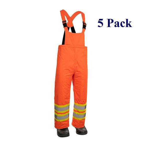 Orange, Black - Hi Vis Insulated Miner Bib Pant - M-3XL  (5 Pack)