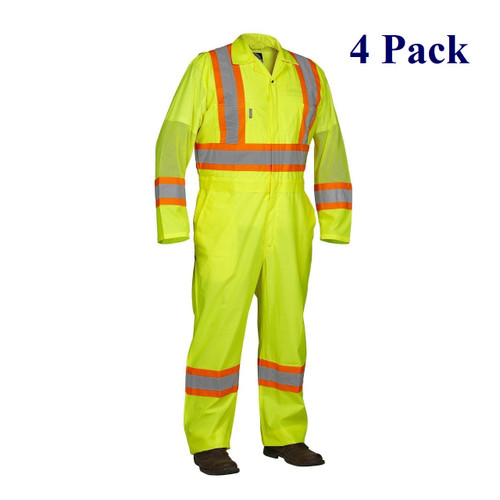 Lime Hi Vis Flagger's Coverall - S-3XL  (4 Pack)