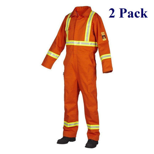 Orange, Blue - Hi Vis Fire Resistant Treated 100% Cotton Coverall - Size 40-56T  (2 Pack)