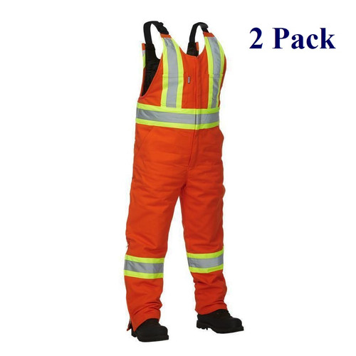 Orange - Hi Vis Insulated Cotton Canvas Overall - M-3XL  (2 Pack)