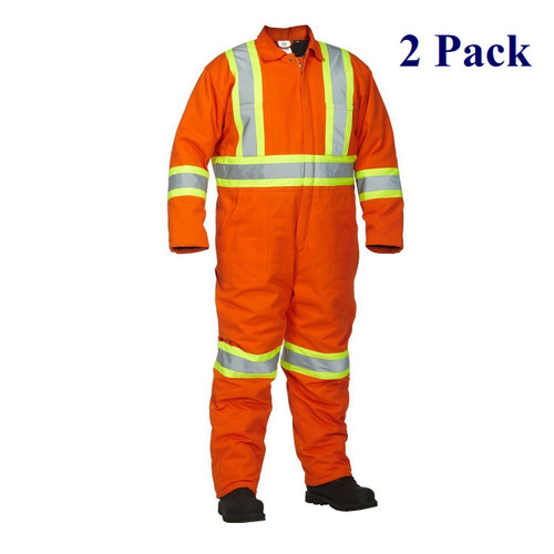 Orange - Hi Vis Insulated Cotton Canvas Coverall - M-3XL  (2 Pack)