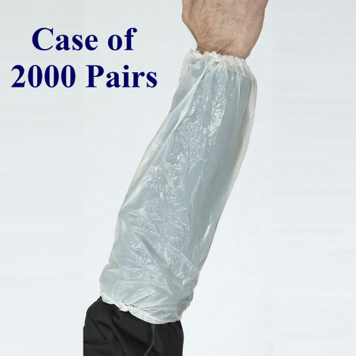 White, Blue - Polyethylene Disposable Sleeves  (Case of 2000 Pairs)