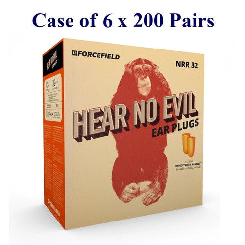 Hear No Evil Foam Earplugs, NRR32 (Case of 6 x 200 Pairs)