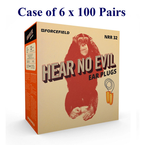 Hear No Evil Corded Foam Earplugs, NRR32 (Case of 6 x 100 Pairs)