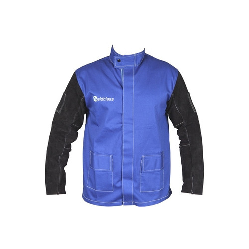 Promax Blue FR Welding Jacket W/Leather Sleeves (M-3XL)