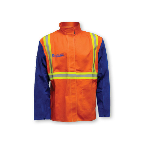 Promax Hi-Vis FR Welding Jacket W/Leather Sleeves (M-6XL)