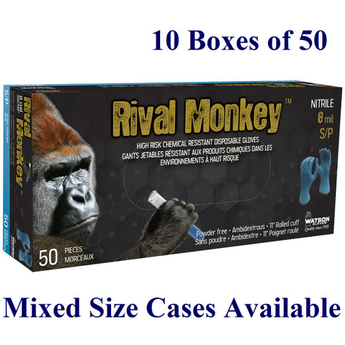 Rival Monkey - Biodegradable 8 mil Nitrile - S-XXL  (Case: 10 x 50/box)