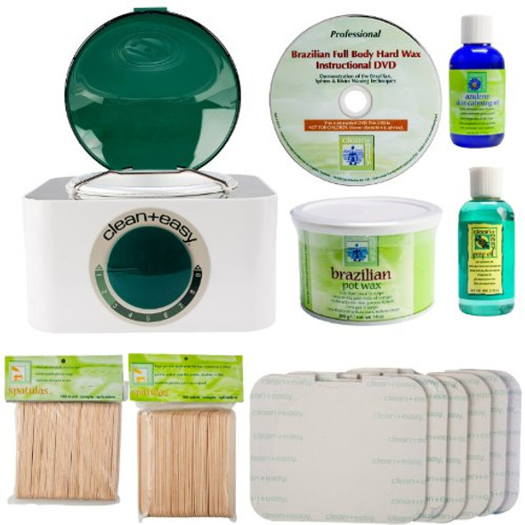 Clean & Easy Professional Brazilian Waxing Kit with Heater