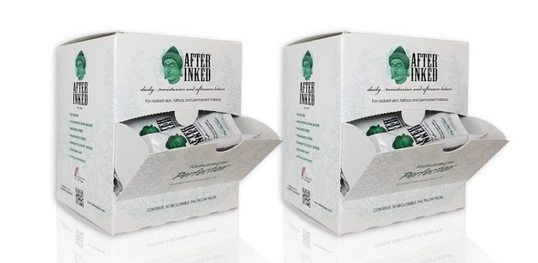 After Inked Tattoo After Care Lotion -  100 Pillow Pack Sachets with Stand