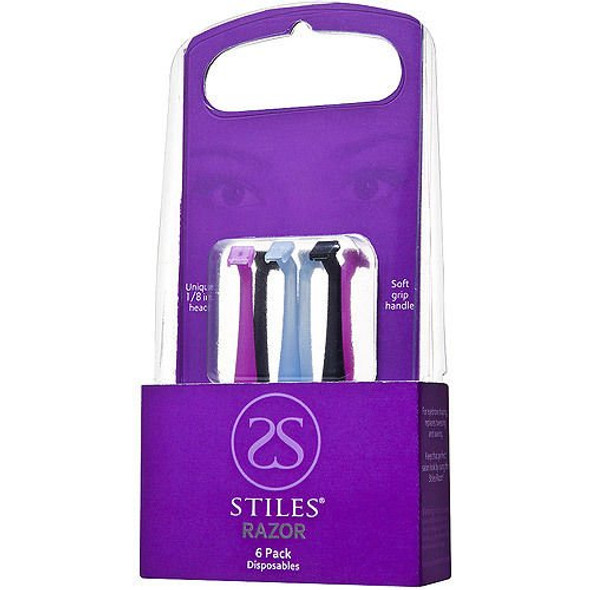 Stiles Razor Narrow Blade Razor for Eyebrows PACK OF 6