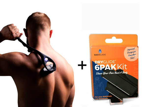 Bakblade 2.0 Mens DIY Back Hair Remover + 6 Bakblade Replacement Blades