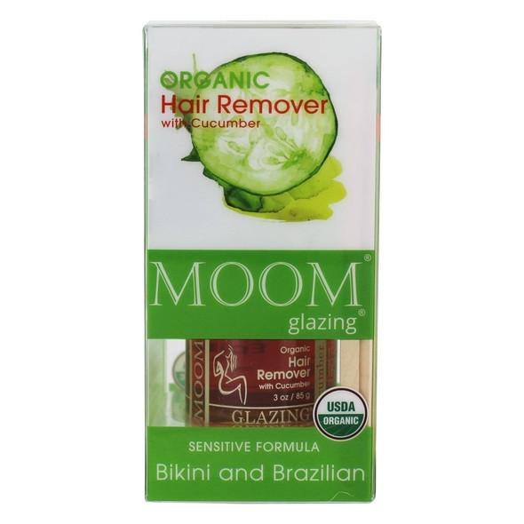 MOOM Glazing Organic Hair Remover with Cucumber Bikini and Brazilian (3oz/85g)