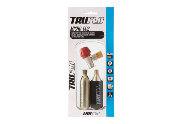 Truflo Micro CO2 Tyre Inflator + Nutrak Puncture Repair Kit