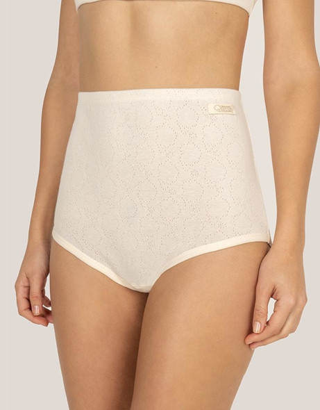 Organic Cotton Extra High Brief Made with Openwork Fabric