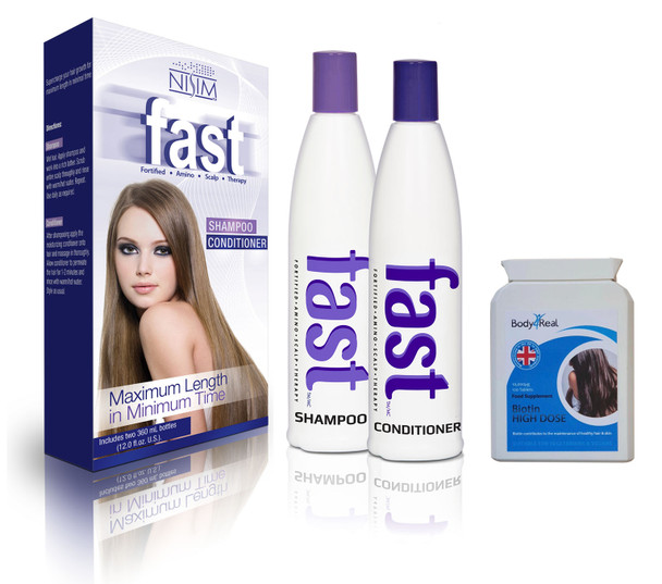 FAST Shampoo and Conditioner 300ml - NO SLS/ PARABENS + Body4Real Biotin High Dose Food Supplement