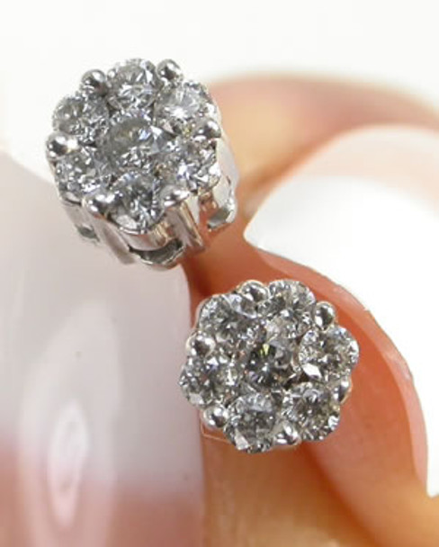0.25ct Diamond Flower Earrings