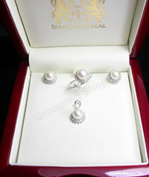 Marilyn White Pearl & Diamond Set