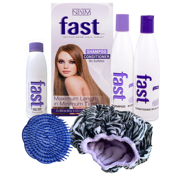 FAST HAIR GROWTH SHAMPOO AND CONDITIONER + OILY SCALP TONIC + BRUSH + DOUBLE SHOWER CAP