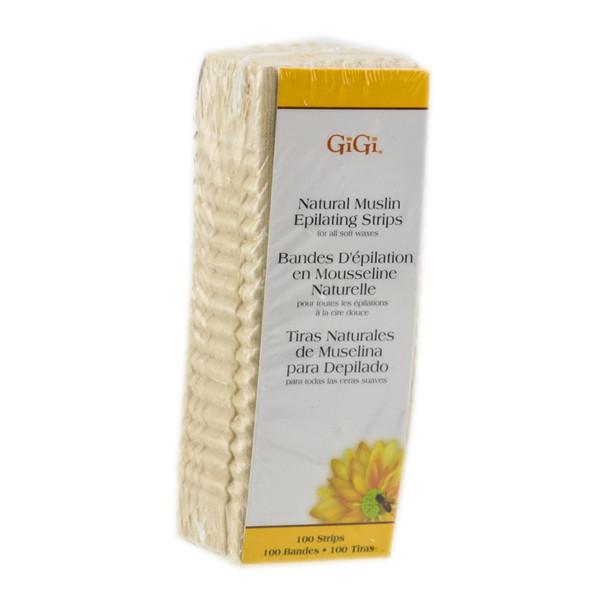 GiGi Natural Muslin Epilating Strips Pack of 100 Large Strips