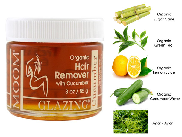 MOOM Glazing Organic Hair Remover with Cucumber Bikini and Brazilian (3oz/85g)