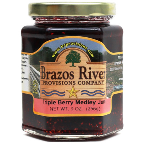Triple Berry Medley Jam - 9 oz - Brazos River - Strawberry, Blueberry, Raspberry