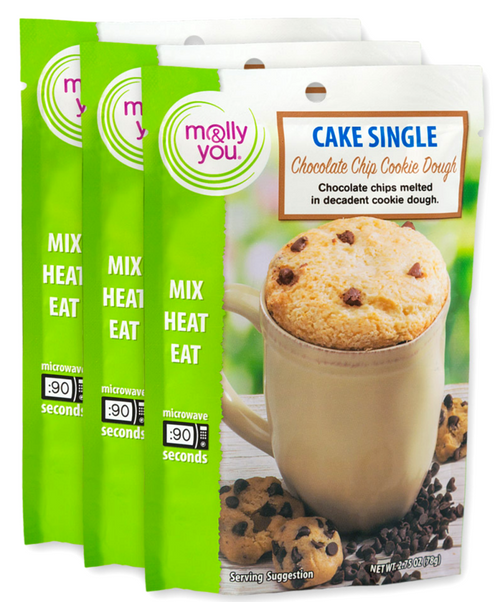 Chocolate Chip Cookie Dough Cake in a Cup Single Serve - 3 pack